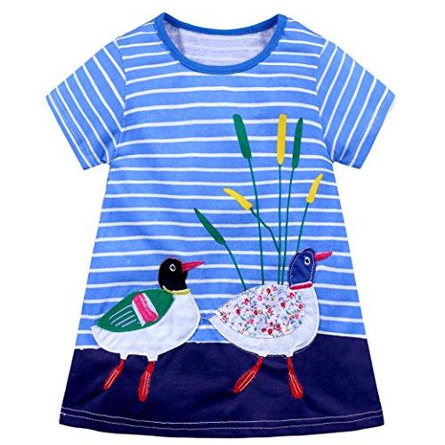 Vincent&July Toddler Baby Kids Girls Dress Rabbit Hedgehog Dog Horse Bird Cat Print Striped Clothes (18M(12-18Month), Duck)