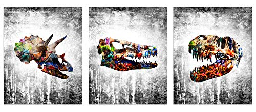 - Dinosaur Modern Graffiti Home Wall Decor Art Prints - 3 Piece 8 x 10 Set - Cute Wall Hangings for House, Bedroom, Nursery or Boys/Kids Room. Decorations/House Decore ft Raptor, T-rex, Triceratops