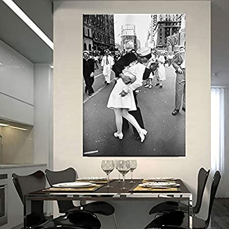 Hechuyue Stampe su Tela e Poster scandinavi Giapponesi a Times Square Stampe Vintage Bacio New York City Foto Wall Pictures Artisti Decorazioni per la casa Pittura Senza Cornice 20x30cm