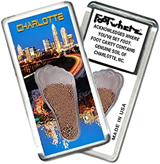 """product image for Charlotte""""FootWhere"""" Souvenir Fridge Magnet. Made in USA (CH201 - Twilight)"""
