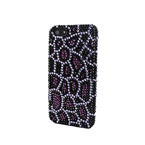 Sanoxy Bling Full Diamond/ Rhinestone Snap-On Case for iPhone 5/5s Leopard Cheetah - Non-Retail Packaging - (Iphone 5 Cases Cheetah)