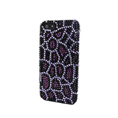 Full Bling Leopard Snap - Sanoxy Bling Full Diamond/ Rhinestone Snap-On Case for iPhone 5/5s Leopard Cheetah - Non-Retail Packaging - Pink/Purple