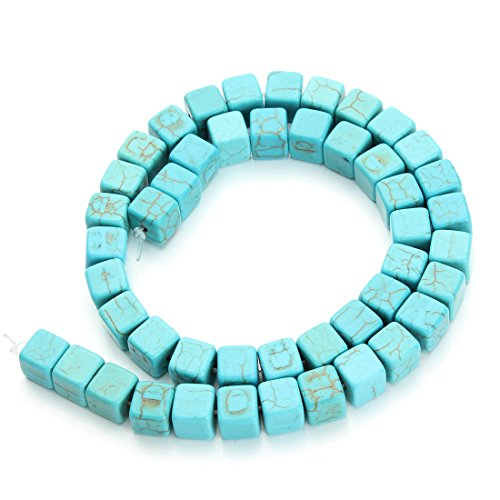 Linsoir Beads Nice Square Shape Blue Turquoise Beads Loose Gemstone Beads Approx. 48pcs /Strand 0.8cmX0.8cmX0.8cm
