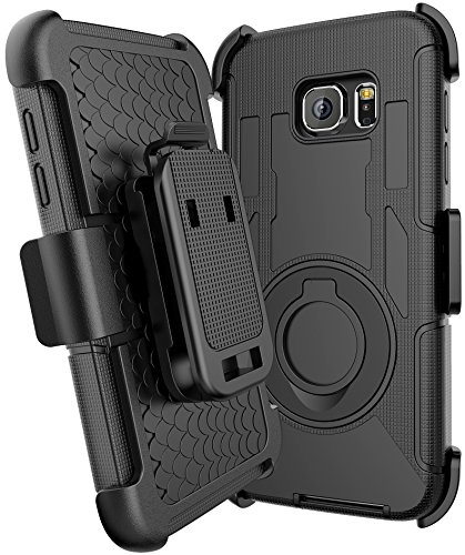 Galaxy S7 Case, E LV S7 Holster Case Cover - Dual Layer Armor Defender Protective Case Cover with kickstand and Belt Swivel Clip for Samsung Galaxy S7 - [BLACK]
