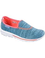 Skechers Go Walk Fathom Womens Slip On Walking Shoes Blue/Coral 7.5