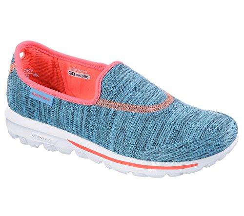 Skechers Dames Gowalk Pathom Instappers Sneaker Blauw / Koraal