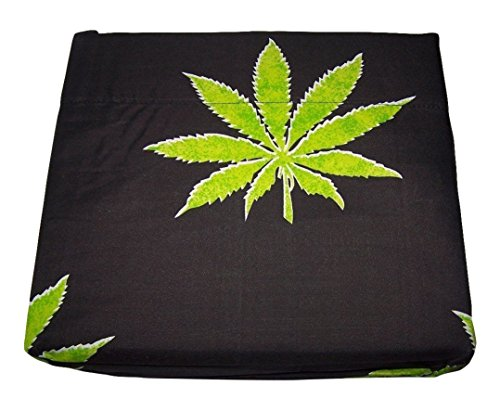 Marijuana Leaf Weed Pot Cannibis Leaf on Black - Marijuana Comforter Set Full