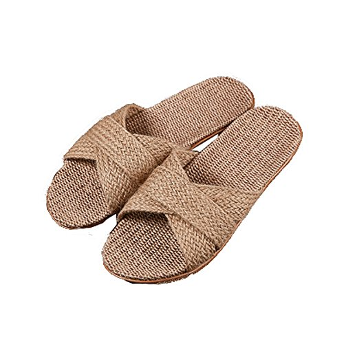 Mtzyoa Flax Open A6 Home Slides Women Toe Indoor Summer Linen Slippers Breathable r7frCwSqW