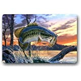 """Creative Design Large Mouth Bass Colorful Bling Jumping Out Of The Sea Home Decor Door Mats Doormat Mat 23.6""""(L) x 15.7""""(W) Dirt Buster"""