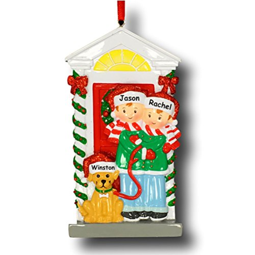 Polar X Personalized Christmas Couple with Dog Christmas Ornament - Family of 2 in Santa Hat and Winter Scarves with Puppy Dog - Free Custom Names (Ornament Favorite Frostys)