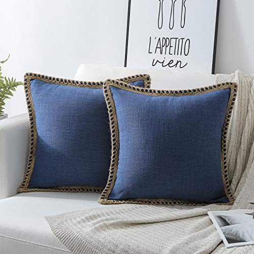 Phantoscope Pack of 2 Farmhouse Burlap Linen Trimmed Tailored Edges Throw Pillow Case Cushion Covers Navy Blue 18 x 18 inches 45 x 45 cm (Clearance Pillows Throw)