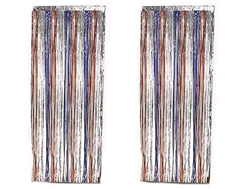 (Patriotic Red Blue and Silver Foil Fringe Door Curtain Party Decoration - Pack of 2)