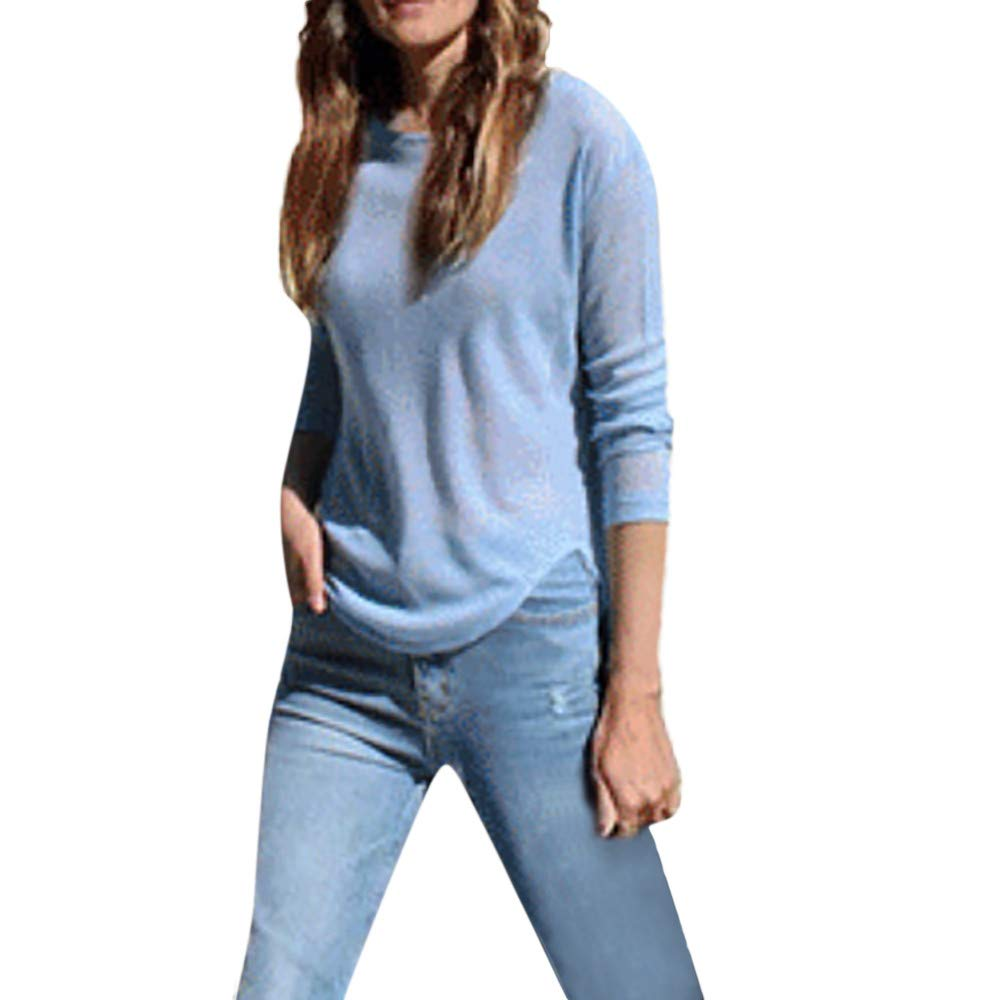 Lmx+3f Casual Womens Knit Bottoming Shirt Irregular Top Round Neck Long Sleeve Blouse Loose Soft Comfy T-Shirt Blue