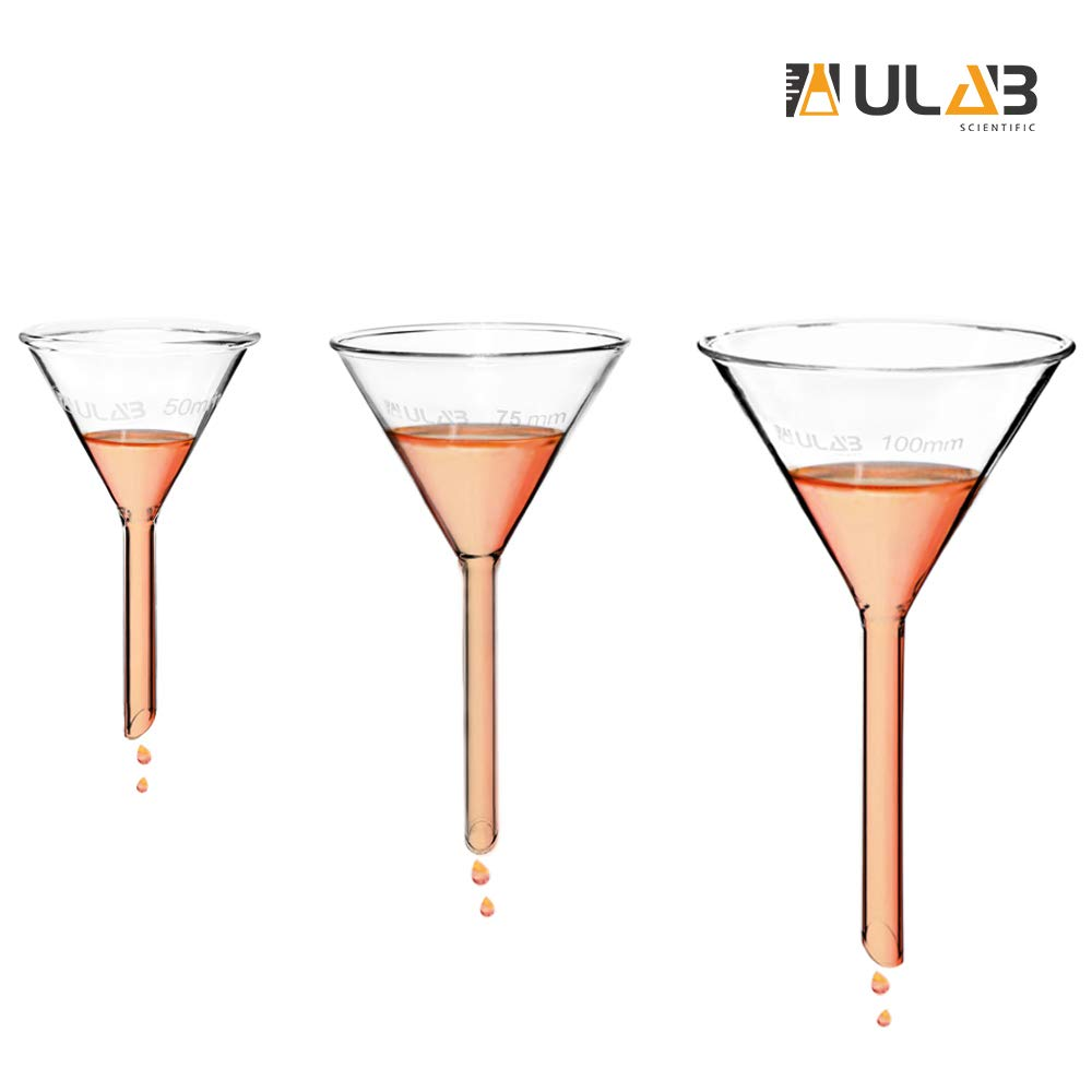 ULAB Scientific Glass Funnel Set, 1 of Each Size 50mm 75mm 100mm with Approx. 60° Angle, Short stem, UGF1009 by ULAB