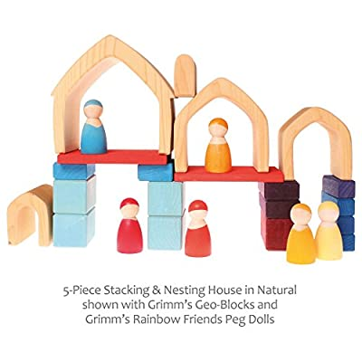 Grimm's Large 5-Piece Wooden Stacking & Nesting House, Natural: Toys & Games