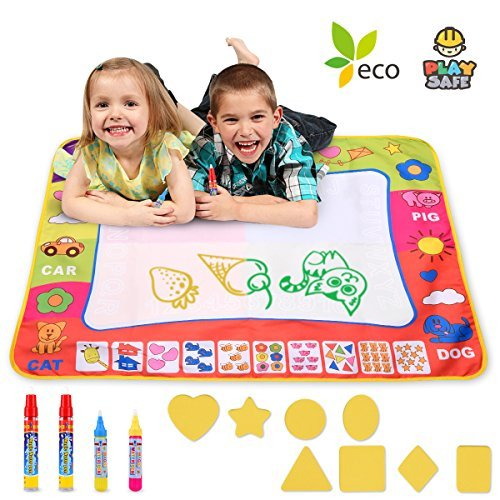 Magic Water Drawing Mat Large Doodle Mat  31.4 x 23.6in Painting Board Writing Mats With 4 Pens 8 Molds Kids Educational Learning Toy Gift for Boys Girls Toddlers Age 2 3 4 5 Year Old Toddler Toys by ZMKDLL
