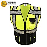 KwikSafety SPECIALIST Safety Vest | Class 2 ANSI OSHA PPE | High Visibility Reflective Stripes, Heavy Duty Mesh with Pockets and Zipper | Hi-Vis Construction Work Hi-Vis Surveyor Men | Black L/XL