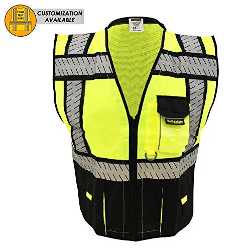 KwikSafety SPECIALIST Safety Vest | Class 2 ANSI OSHA PPE | High Visibility Reflective Stripes, Heavy Duty Mesh with Pockets and Zipper | Hi-Vis Construction Work Hi-Vis Surveyor Men | Black L/XL