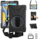 New Galaxy Tab A 8.0 2018 Case,360 Degree Rotatable w/Kickstand,Hand Strap & Shoulder Grip, 3 Layer Hybrid Heavy Duty Shockproof Cover + Screen Protector for Samsung Galaxy Tab A 8.0 SM-T387 T387