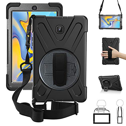 ZenRich New Galaxy Tab A 8.0 2018 Case,360 Rotatable w/Kickstand,Hand Strap & Shoulder Grip, 3 Layer Hybrid Heavy Duty Shockproof Cover for Samsung Galaxy Tab A 8.0 SM-T387 T387 Verizon/Sprint Black