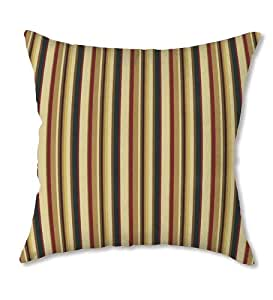 """22"""" Square Weather-Resistant Outdoor Large Classic Throw Pillow, in Green Stripe"""