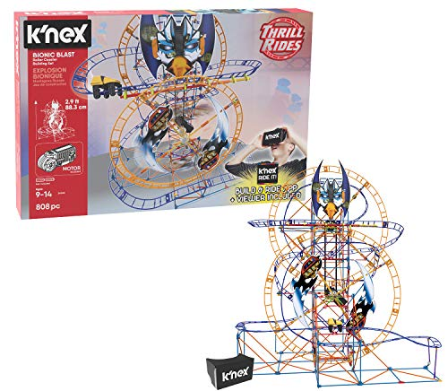 K'NEX Thrill Rides – Bionic Blast Roller Coaster Building Set with Ride It! App – 809Piece – Ages 9+ Building -