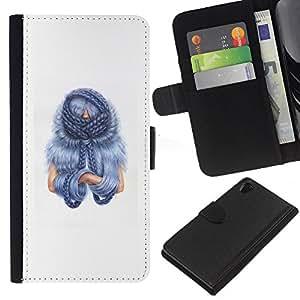 JackGot ( Blu Cabello ) Sony Xperia Z2 D6502 la tarjeta de Crédito Slots PU Funda de cuero Monedero caso cubierta de piel