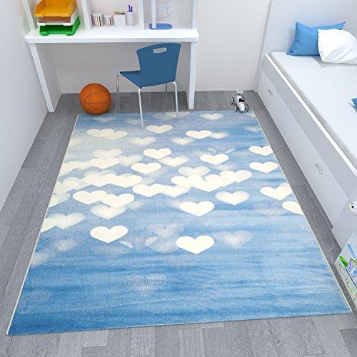 Wohnzimmer blau weis  VIMODA Wohnzimmer Teppich Herzmuster Blau Weiß, Maße:160x230 cm ...