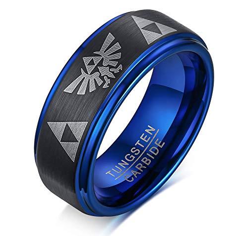 PJ Jewelry Mens 8mm Tri - Colored Tungsten Carbide Legend of Zelda Symbols Triforce Wedding Band,Anniversary Ring (Triforce Mens Wedding Band)