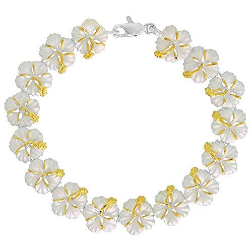 Sterling Silver Hawaiian Hibiscus Flower Bracelet 2 Tone 7/16 inch wide, 7 inch ()