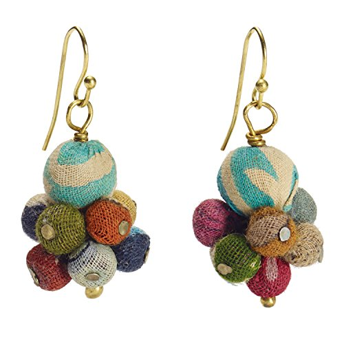 Woldfinds Kantha Bead Cluster Earrings - Colorful Dangle Fair Trade from India
