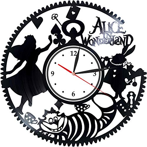 Levescale : Alice in Wonderland Vinyl Wall Clock Adventure Film for Women and Tim Burton Fans - Decoration for Kids Room White Rabbit, Walt Disney Pictures -