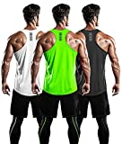 DRSKIN Men's 3 Pack Dry Fit Y-Back Muscle Tank Tops Mesh Sleeveless Gym Bodybuilding Training Athletic Workout Cool Shirts (BTF-ME-TA-(DG,W,LG), XL)