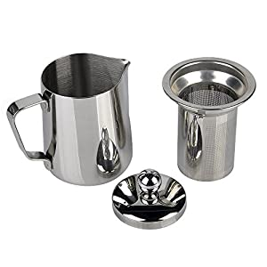 Stainless Steel 2-in-1 Frothing Pitcher Tea Pot with Infuser, Silver Tone by YOULANDA