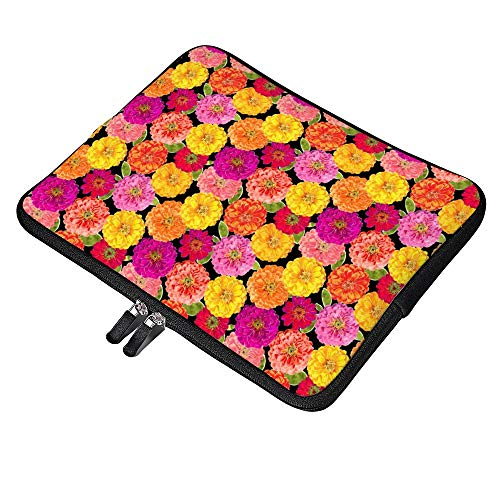 Laptop Sleeve Water Repellent Neoprene Bag Protective Case Cover Compatible with MacBook Pro/Asus/Dell/Hp/Sony/Acer 13 Inch, Summer Zinnias Pink Yellow Floral -  Elvoes, Elv-l1gp7cjjsrkx-3