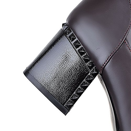 AllhqFashion Womens High-top Solid Pull-on Pointed Closed Toe Kitten-Heels Boots Brown iqDrXIuvb