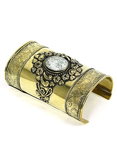 Roman Slave Costumes (Women's Roman Metal Wrist Cuff with Stone (Gold))