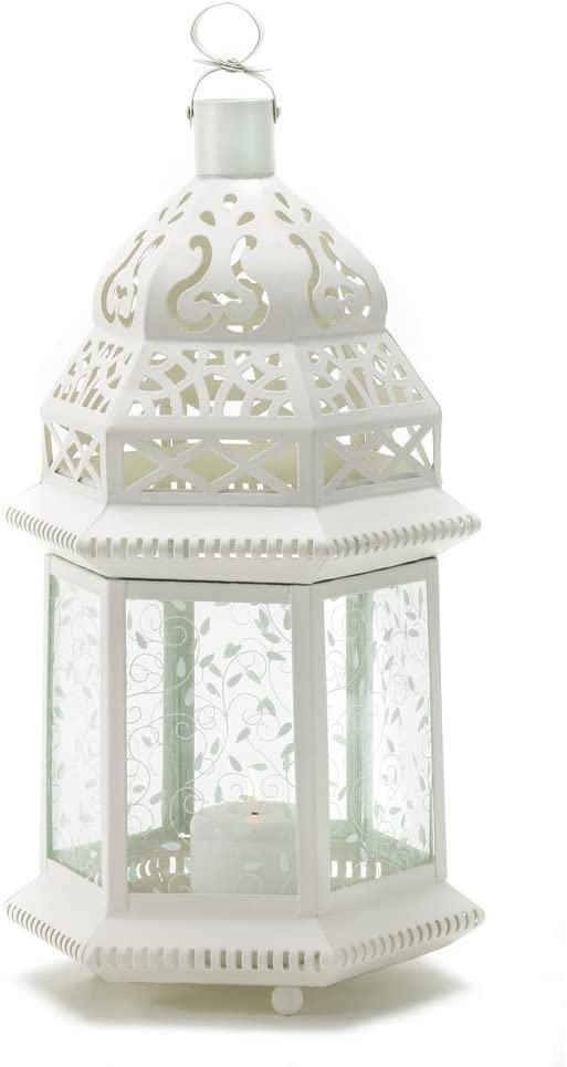 Gifts & Decor Large White Moroccan Lantern Ornate Metal Gl Light on