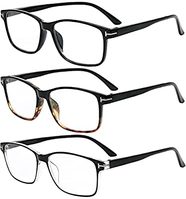 Reading Glasses 3 Pair Stylish Quality Readers Spring Hinge Glasses for Reading for Men and Women
