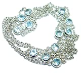 SilverRush Style Swiss Blue Topaz Women 925 Sterling Silver Necklace - FREE GIFT BOX