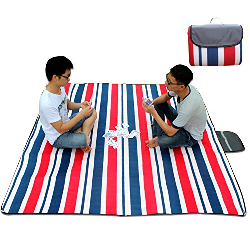 Waterproof Picnic Blanket for Camping Hiking Outdoor Traveling , Foldable lightweight Camping Blanket 7878inch Children crawling mat. (Red and blue stripes) by Qzc