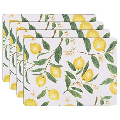 House and Home Cork Placemats 16 x 12-Inch Set of 4 (Lemons Print)