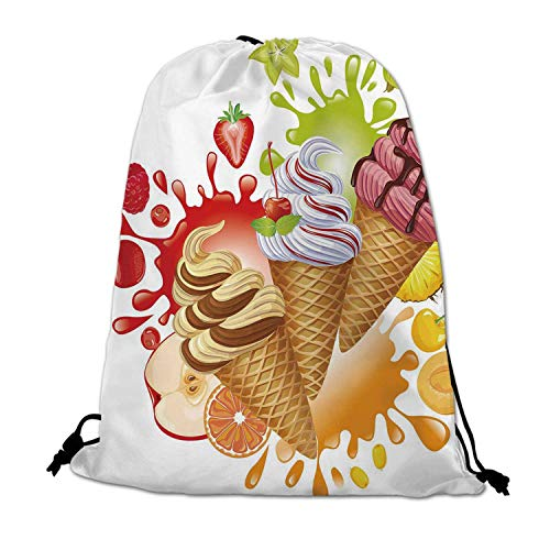 Ice Cream Decor Lightweight Drawstring Bag,Various Flavor Summer Dessert with Peach Apricot Strawberry Sorbet Print Decorative for Travel Shopping,One_Size