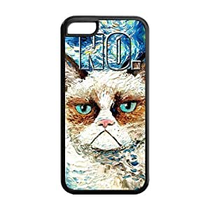 LJF phone case LeonardCustom Cute Grumpy Cat Protective Hard TPU Rubber Coated Phone Case Cover for iPhone 5C