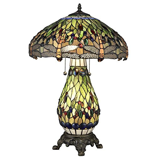 (Tiffany Style Green Dragonfly Table Lamp - Lighted)