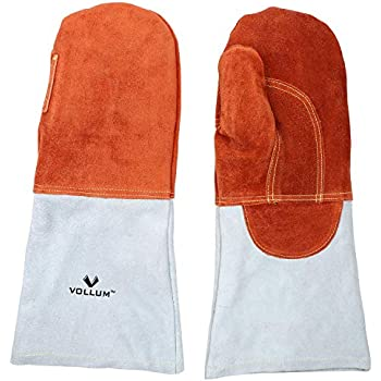 Vollum High-Heat Orange-Top Suede Oven Mitts (1 Pair) 16 Inch, Resistant to 572F