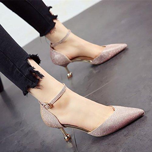 e singola e alti acuminata autunno silvery singola del personalità scarpe a moda donna Primavera scarpe tacchi della da appuntita parte scarpe shallowly mondo testa FLYRCX 4wxg58U
