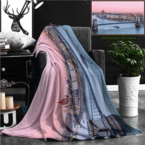 - Nalagoo Unique Custom Flannel Blankets Picturesque Dusk Scenery Of Budapest Historical Downtown Over Danube River Delta Super Soft Blanketry for Bed Couch, Throw Blanket 70