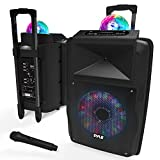 Portable DJ Karaoke PA Speaker - Outdoor 700 Watt Stereo  12' Subwoofer Built-in LED Lights Wireless Bluetooth Rechargeable Battery Audio Recording Mode & MP3/USB/Micro SD/FM Radio - Pyle PSUFM1280B
