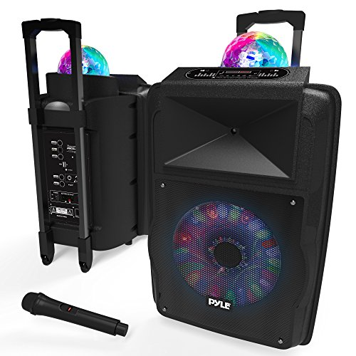 "Portable DJ Karaoke PA Speaker – Outdoor 700 Watt Stereo  12"" Subwoofer Built-in LED Lights Wireless Bluetooth Rechargeable Battery Audio Recording Mode & MP3/USB/Micro SD/FM Radio – Pyle PSUFM1280B"